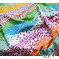 Cotton Linen Fabric Sew on a Patch 波浪拼布