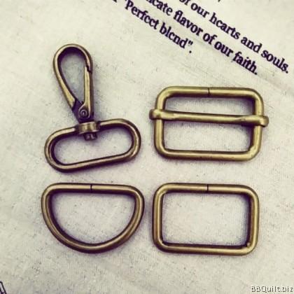 1 1/4inch Smart Snap Hooks/D Ring/Rectangle Rings/Rectangle Slider in Antique Bronze (32mm)