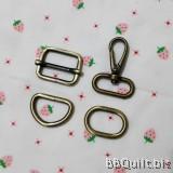 "1"" Smart Snap Hooks/D Ring/Chunky Oval Rings/Rectangle Slider in Antique Bronze (25mm)"
