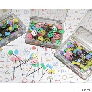 Bow/Flower/Button Flat Head Pins|Mixed Colour|100pkg