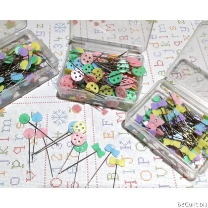 Bow/Flower/Button Flat Head Pins|Mixed Colour|100pkg