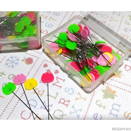 Birds/Tulips Flat Head Pins|Mixed Colour|50pkg