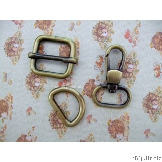 "0.8"" Smart Snap Hooks/D Ring/Chunky Oval Rings/Rectangle Slider in Antique Bronze (20mm)"