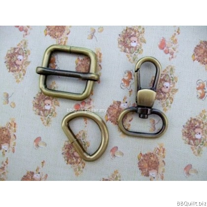 "0.8"" Smart Snap Hooks/D Ring/Chunky Oval Rings/Rectangle Slider in Antique Bronze (20mm)"