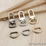 "0.5"" Swivel Snap Hooks + D Ring in Antique Bronze (1.2mm)"