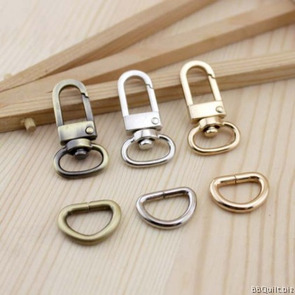 "0.5"" Swivel Snap Hooks + D Ring in Antique Bronze & Gold(1.2mm)"