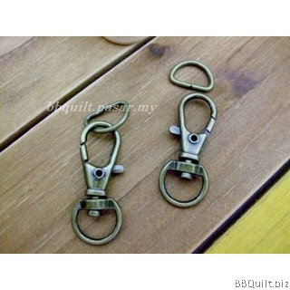 Mini Swivel Snap Hook+D ring in Antique Brass (12mm)|2 sets