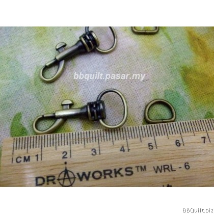 Swivel Bolt Snap+D ring in Antique Brass (12mm)|2 sets