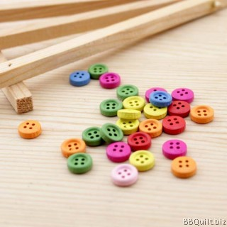 10x Wooden Buttons 8mm|Round Wood|Assorted Colors