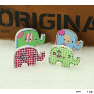 10x Wooden Elephant Buttons|2 Hole Animal Buttons