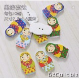 10x Matryoshka Doll buttons|Wood Button|Russian Doll Two Holes Button