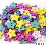 10x Star buttons|Polka dots buttons|Wooden buttons|Assorted Colors