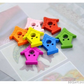 10x Wooden bird house buttons|Assorted Colors|2 holes buttons