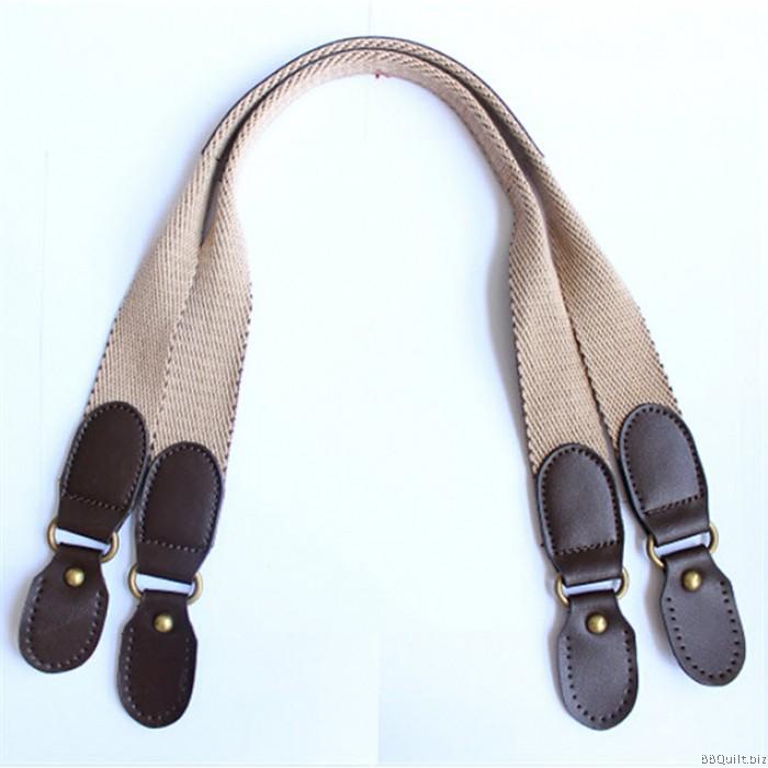 Real Leather Bicolor Cotton Canvas Webbing Handle Shoulder Bag Straps 3 Colours 66cm 3cm