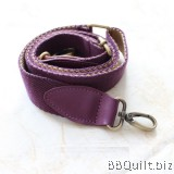 Cross Body Adjustable Real leather bag strap+D hook|Bicolor Webbing|Beige+Purple|88-145cm*3.2cm