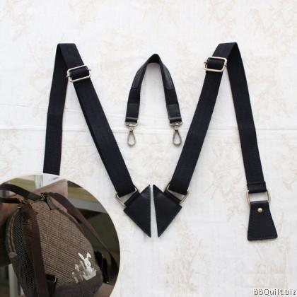 Adjustable Backpack Straps|Real leather+Cotton Canvas Webbing handle|Shoulder Straps|3 colours