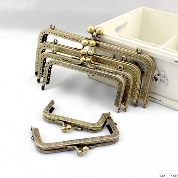 Sew-in Patterned Antique Bronze Rectangular Purse Frame Gamaguchi bag Clasps 7 sizes