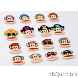 10x Paul Frank buttons|Natural Wood buttons|2 Hole Sewing Buttons