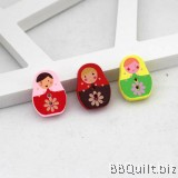 10x  Babushka Dolls buttons|Wood Button|Russian Doll Two Holes Button