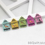 10x Bird Cages shaped buttons|1 Hole Animal Buttons|Wooden buttons