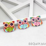 10x Wooden Big Eyes Owl Buttons|2 Hole Animal Buttons