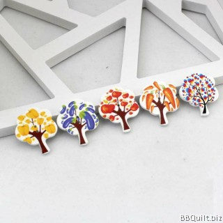 10x Fruit trees shaped buttons|2 Holes Buttons|Wooden buttons