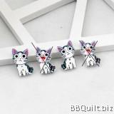 4x Wooden Anime Cat Buttons 2 Hole Buttons Cute Buttons