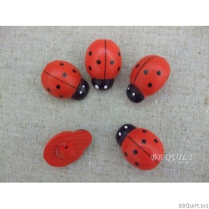 Stock clearance|Ladybird beetle Wooden buttons|Shank back buttons|9pcs/pcks
