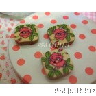 Stock clearance|DIY Craft supplies|Rose Printed wooden buttons|Natural wood colour|11pcs/pcks