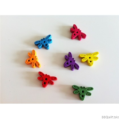 Stock clearance|DIY Craft supplies|Dragonfly Bear Heart|Colour wood Buttons|65pcs/pcks