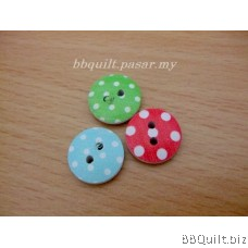 5x Printed Round Wooden buttons|2 Holes Buttons|15MM|12 styles