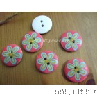 Stock clearance|DIY Craft supplies|Pink Flower wooden buttons|12pcs/pcks|18mm