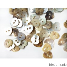 10x Mother of Pearl Buttons|Heart Shaped Shell Buttons|2 Holes Button|12mm