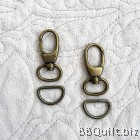 Swivel Lever Snap Hook+D ring in Antique Brass (15mm)|2 sets