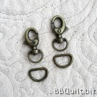 Extra Mini Swivel trigger Snap Hook+D ring in Antique Brass (10mm)|2 sets