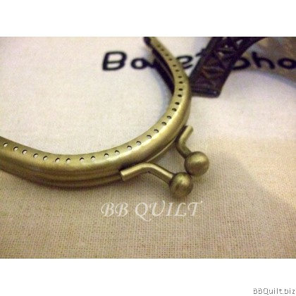 8.5cm Basic half Round Purse Frame|Smooth surface|Antique Bronze