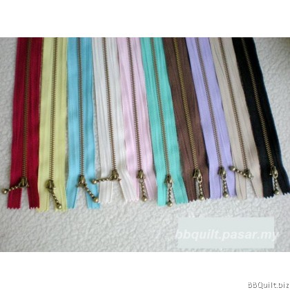 "#3 Antique Brass Zippers|closed-end|Metal Zippers|6"" 8"" inch