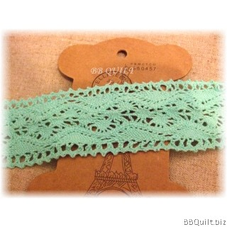 Cluny Cotton Lace 4cm Mint Green