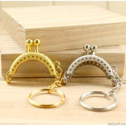 4cm Super cute Mini Half Round Purse Frame with key ring Texture surface 3 colors
