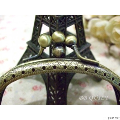 10.5cm Antique Bronze Curved Round Twin Purse Frame