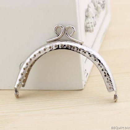 8.5cm Silver Scroll Head Clasp Purse Frame