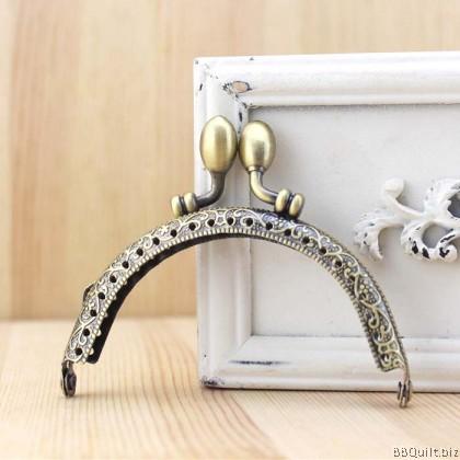 8.5cm Antique Bronze Flower Bud Beads Clasp|Half Round Purse Frame