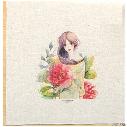 20x20cm Beautiful Girl Hand Dyed Fabric|Small Panel Fabric