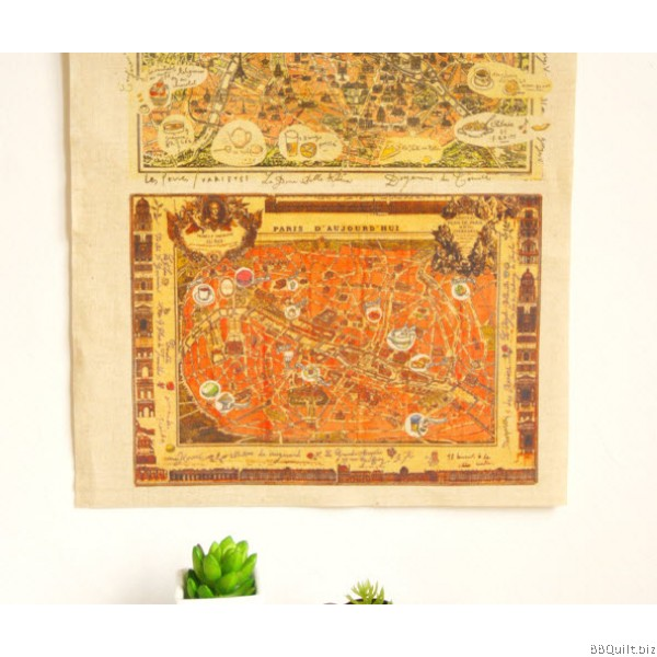 30x40cm Antique Maps of Paris Hand Dyed Fabric|Small Panel Fabric
