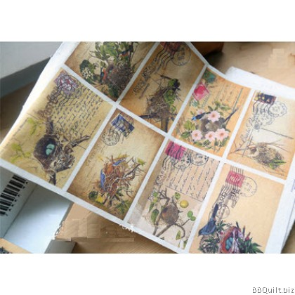 30x40cm Antique Postcards Hand Dyed Fabric|Small Panel Fabric
