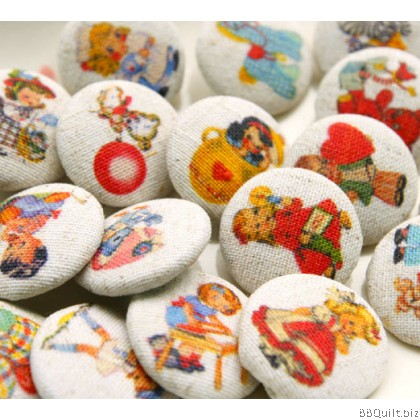 25mm Hand Made Fabric Covered Buttons Childrens Buttons 5x