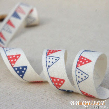 Zakka Cotton Tape Sewing Label - Triangle Flag Banner Bunting 15mm