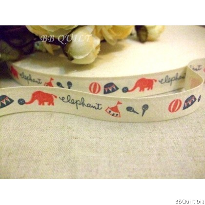 Zakka Cotton Tape Sewing Label - Circus Elephants 15mm