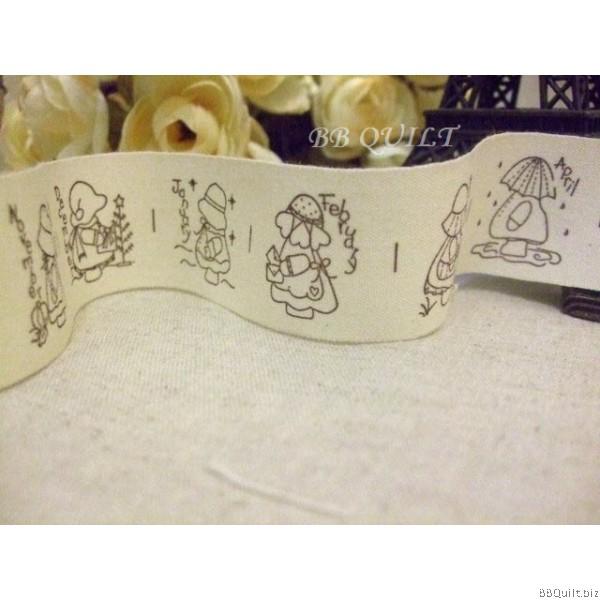 Zakka Cotton Tape Sewing Label -12 Month of Sunbonnet Sue 30mm