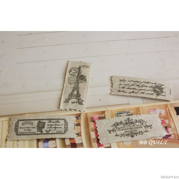 Zakka Cotton Tape Sewing Label - Paris Eiffel Tower 22mm